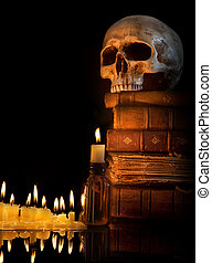 Halloween border 4 - Halloween border with skull, ancient...