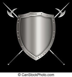 Silver riveted shield with axes. - Medieval silver shield...