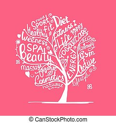 Art tree with healhty lifestyle tags. Vector illustration