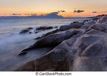 Orange Beach. Halkidiki, Greece - sunrise in Orange Beach....