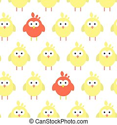 Seamless pattern with flat chickens pictograms. - Vector...