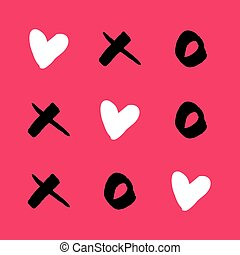 Noughts and crosses with love on pink vector background