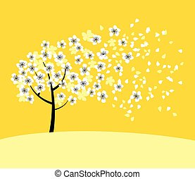 white sakura tree blossom on sunny yellow background. elegant naive spring floral design element for invitation, card, poster, greetings, wedding.