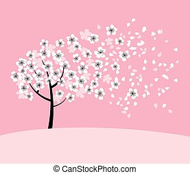 white sakura tree blossom on pink rosy background. elegant naive spring floral design element for invitation, card, poster, greetings, wedding.