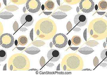 abstract stylized floral. creative pale color sixties seamless pattern. modern textured  geometry flower vector illustration. pastel gray and beige daisy in 60s style on white background