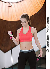 mujer, gimnasio, joven, soga, Saltar, ejercicio