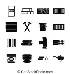 Building materials icons set, simple style - Building...