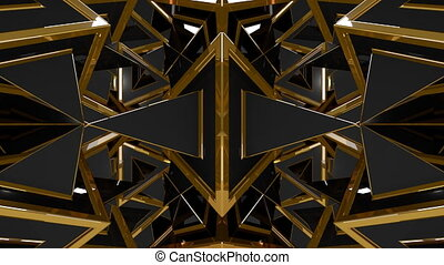 Black Gold Fantasy 3D Geometric Shapes Pattern - VJ...
