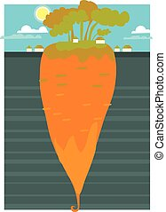 a huge underground carrot concept vector illustration