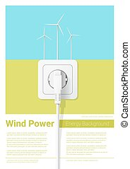 Green energy concept background with wind turbine and electric plug 3