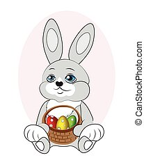 Easter rabbit - lovely easter rabbit with a basket of eggs