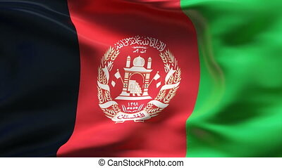 AFGHANISTAN flag in slow motion - Creased cotton flag with...