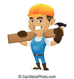 Handyman holding hammer and carrying wood plank