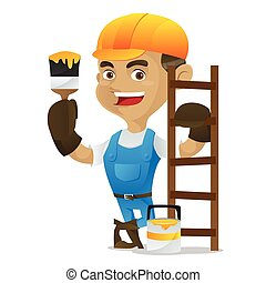Handyman holding paint brush and leaning on ladder isolated...