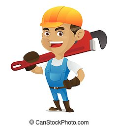 Handyman carrying adjustable wrench isolated in white...