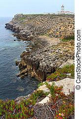 Lighthouse of Cape Carvoeiro (Peniche, Portugal). -...