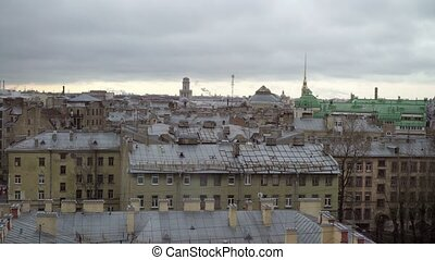 Saint-Petersburg Admiralty view at winter cloudy day