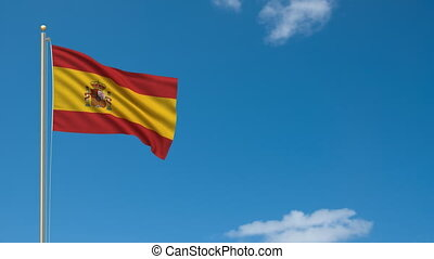 Flag of Spain waving in the wind - highly detailed flag with...