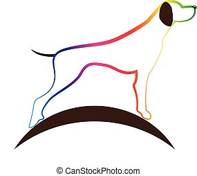 Dog silhouette logo - Dog logo colorful vector design