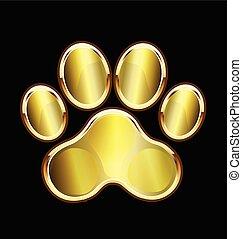 Dog gold paw print logo