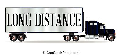 Truck Tractor Unit And Trailer With Long DIstance Inscription