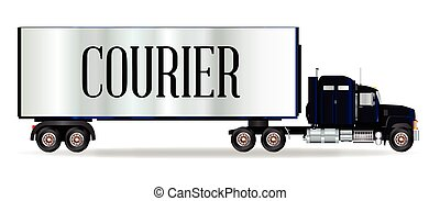 Truck Tractor Unit And Trailer With Courier Inscription