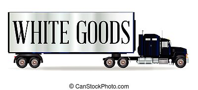 Truck Tractor Unit And Trailer With White Goods Inscription...