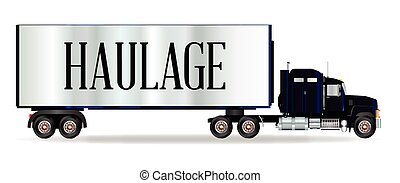 Truck Tractor Unit And Trailer With Haulage Inscription