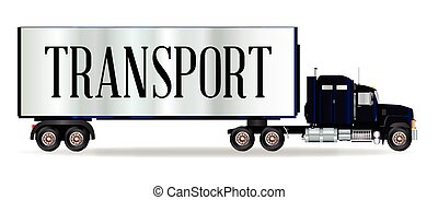 Truck Tractor Unit And Trailer With Transport Inscription