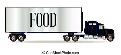Truck Tractor Unit And Trailer With Food Inscription