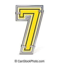Framed traffic road sign FONT number 7 3D