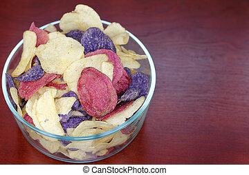 Crimson, Yellow and Purple Potato Chips Crimson, Purple...