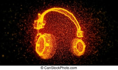 Flaming Headphones Particles Background