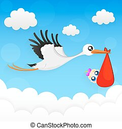 Stork and baby.