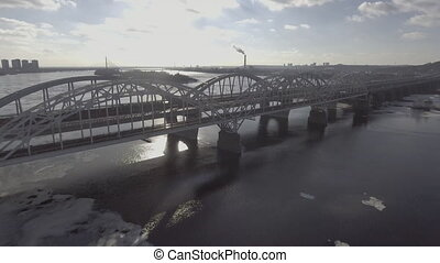 The bridge in winter with a bird's eye view