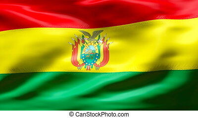 BOLIVIA flag in slow motion - Creased cotton flag with...