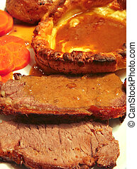 Roast beef and yorkshire pudding - A traditional British...
