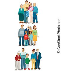 Three familly set - Vector illustration of three family set