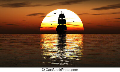 Ancient sailing ship at sunset. 3D render. - Beautifull...