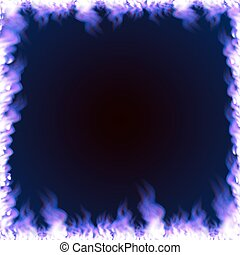 Rectangular frame surrounded with blue flame - Rectangular...