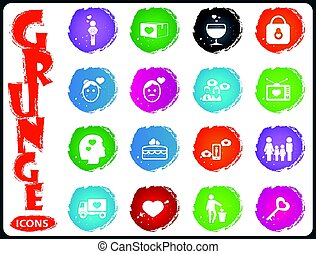 Valentine day icons set in grunge style