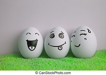 Eggs are cheerful with a face. Two pieces