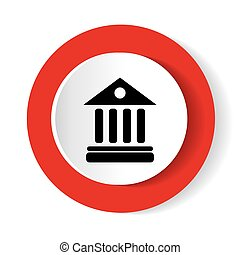 University Icon Isolated on red Background. Vector illustration.