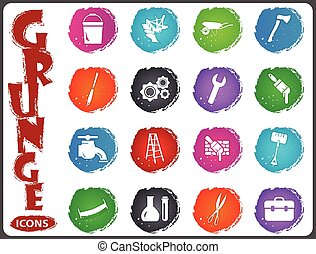 Work tools icons set in grunge style