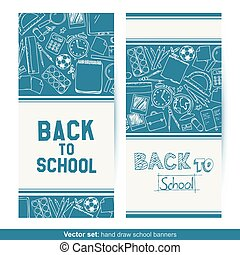 Back To School hand drawn banners