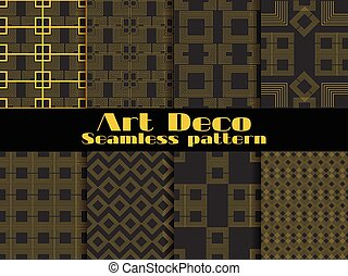 Art deco seamless pattern. Set retro backgrounds, gold and...