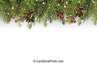 Christmas border with branches,pinecones and berries on...