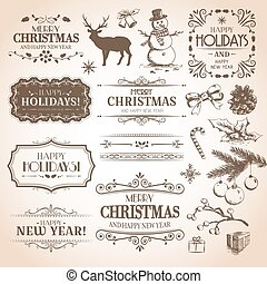 Christmas and New Year decoration collection. Vector set of...