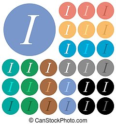 Italic font type round flat multi colored icons - Italic...