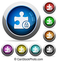 Lock plugin round glossy buttons - Lock plugin icons in...